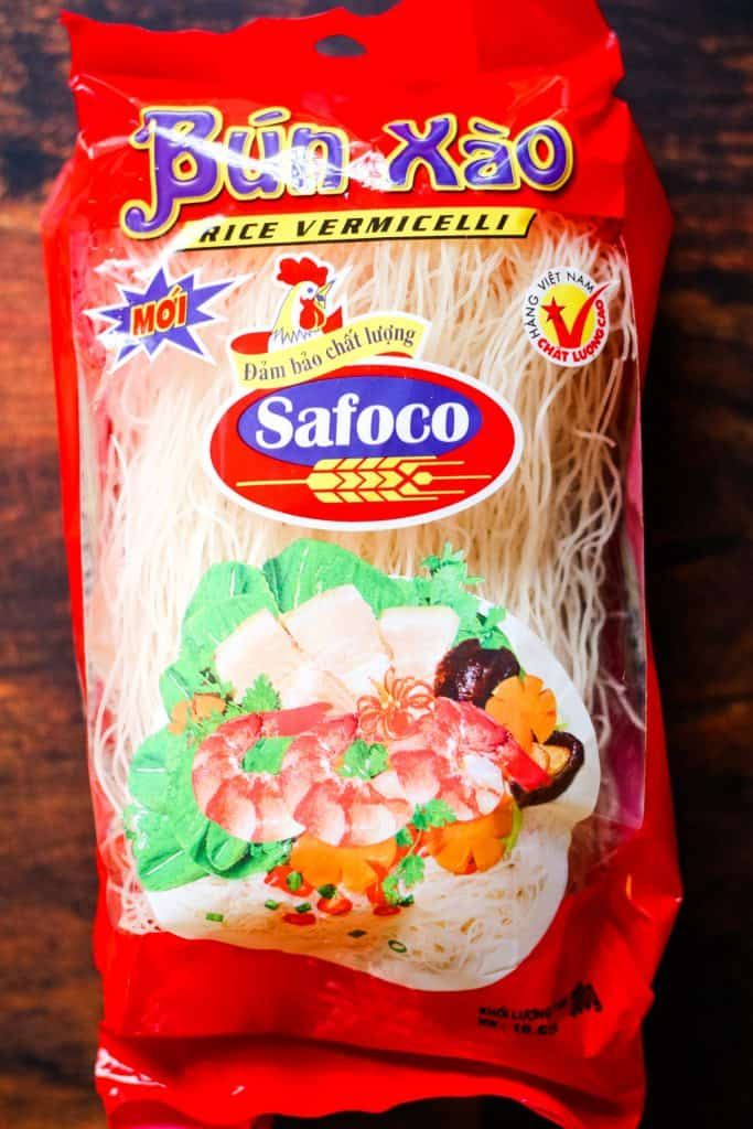 rice vermicelli noodles in a red package