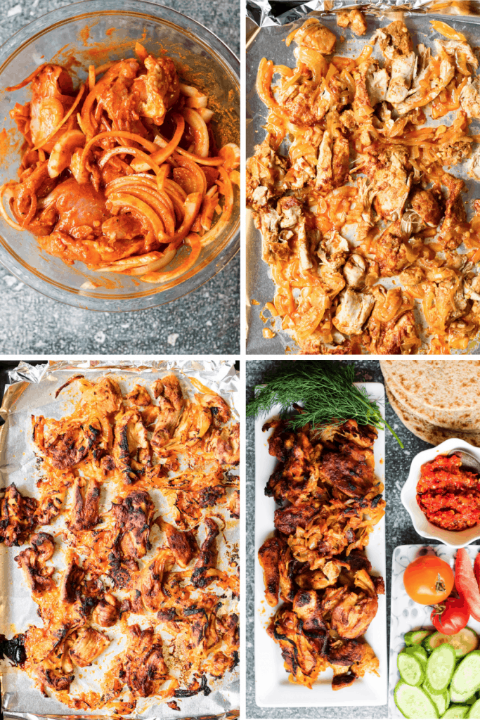 4-photo collae showing the phases of this chicken shwarma recipe. First, chicken and onions in marinade in a bowl, then chicken on a sheet pan before broiling, chicken on a sheet pan after broiling, and the finished dish along with flat bread, tomatoes, fresh dill, and harissa paste.