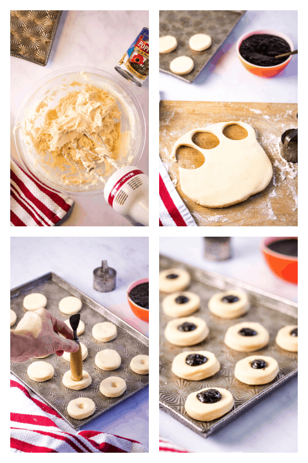 4-photo collage of the process of making the kolacky: mixing the ingredients, rolling and cutting the dough, making dimples in the dough rounds, and filling the rounds with the poppy seed filling.