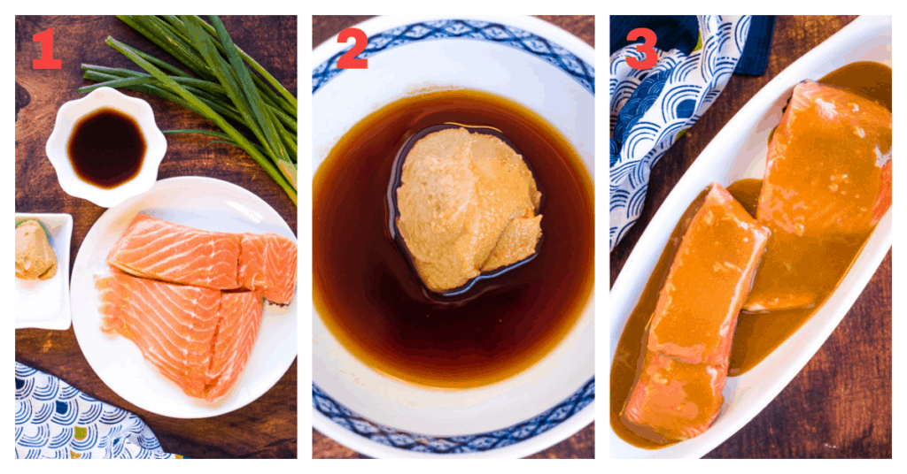 A 3-image collage showing the steps to make the dish: Ingredients, making the marinade, marinating the fish.