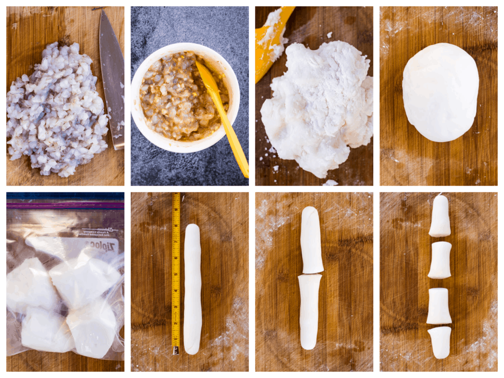 Collage showing 8 steps of making har gow