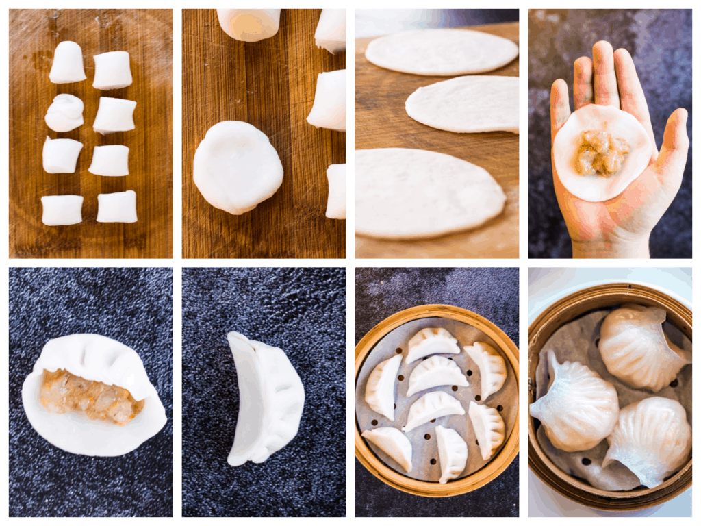 Collage showing more steps of making har gow