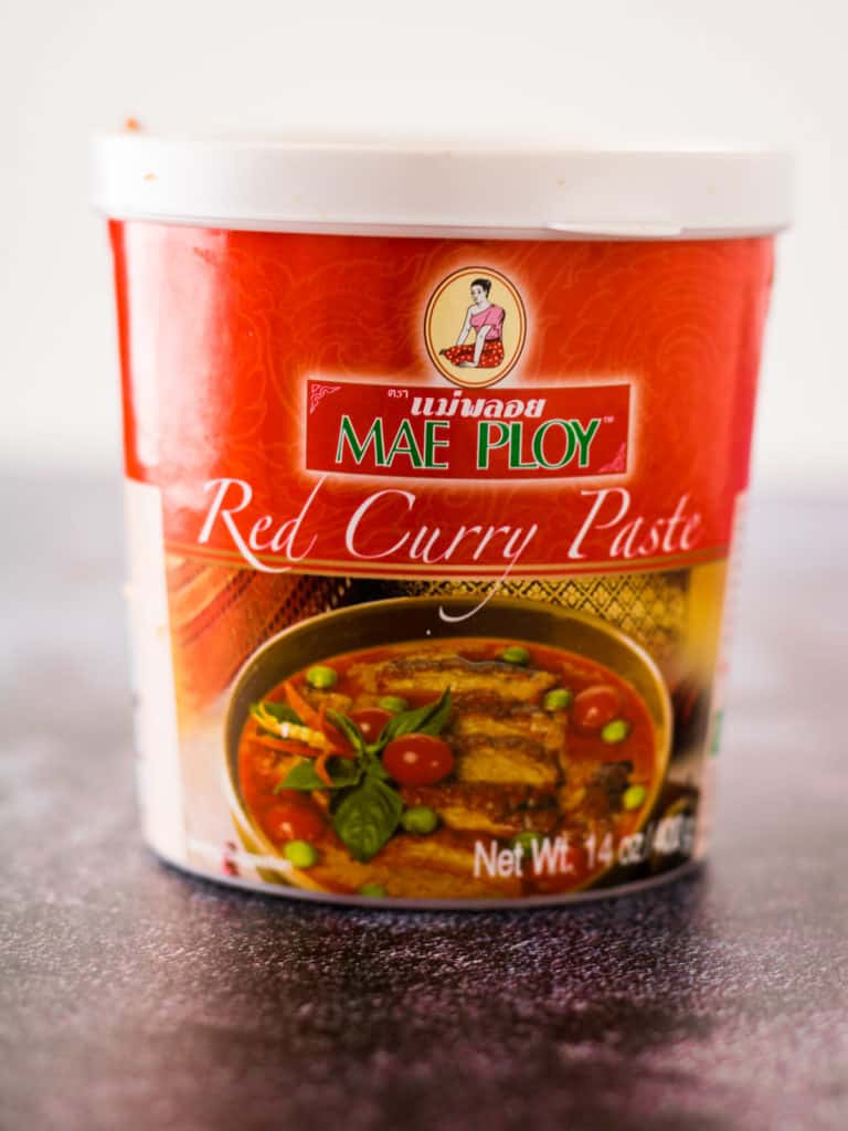 A package of Mae Ploy red curry paste
