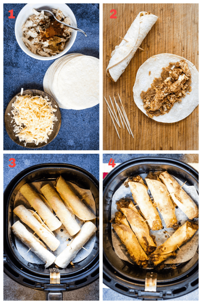 collage showing the steps for making taquitos in the air fryer