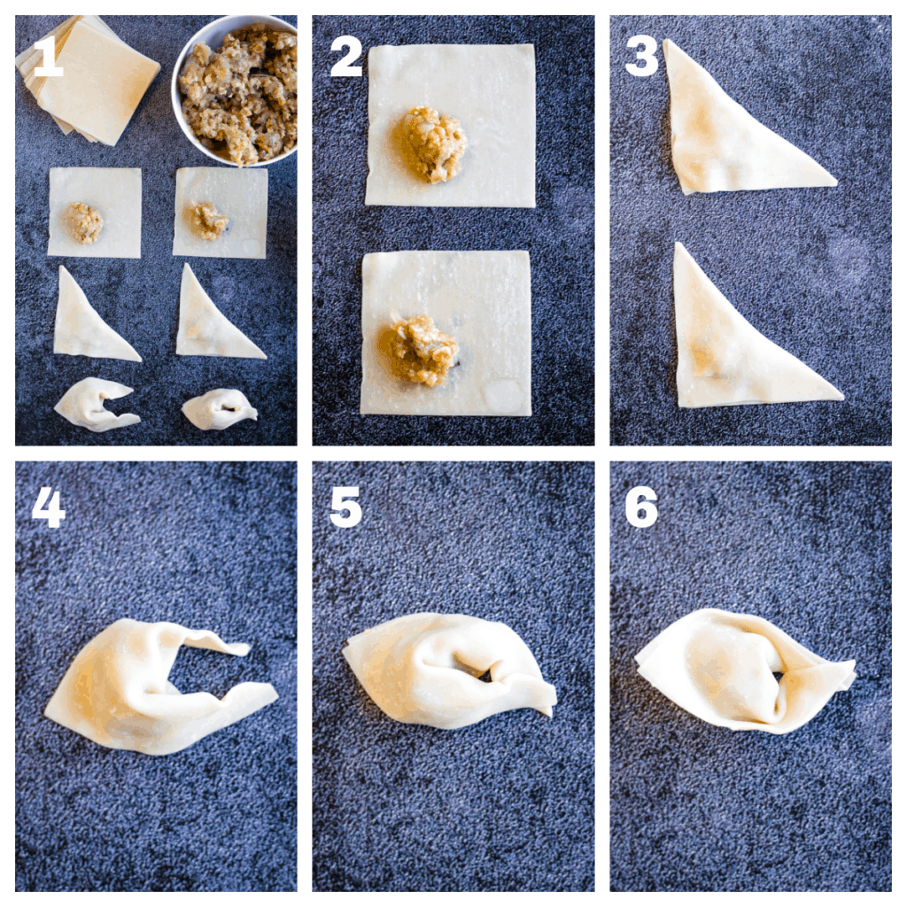 Photo collage showing the steps for filling and shaping the wontons