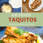 pinterest pin for air fryer taquitos