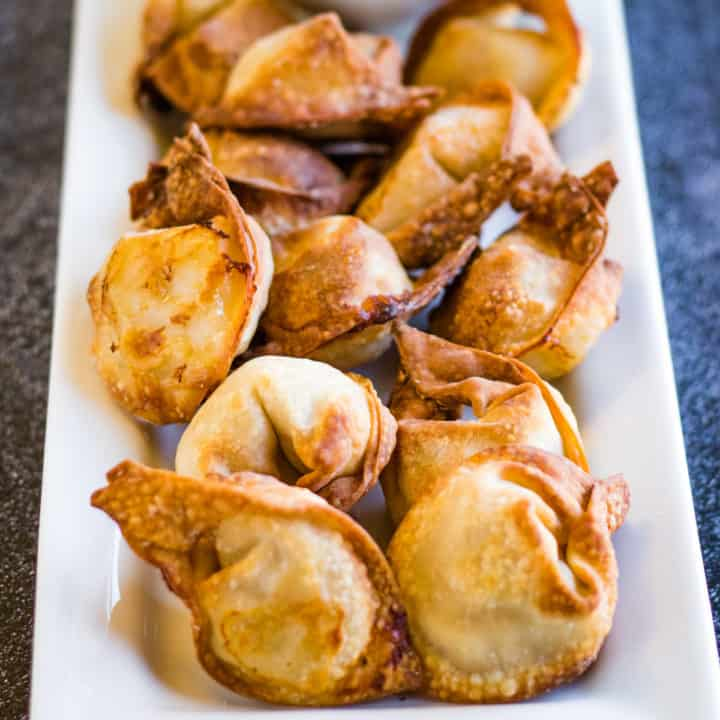 low angle shot of the wontons after being cooked in the air fryer