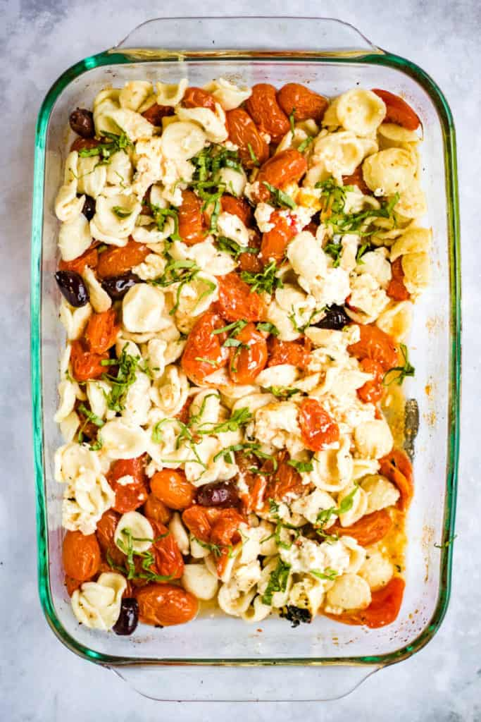 baked feta pasta after the tomatoes and feta have been baked and mixed with the cooked pasta