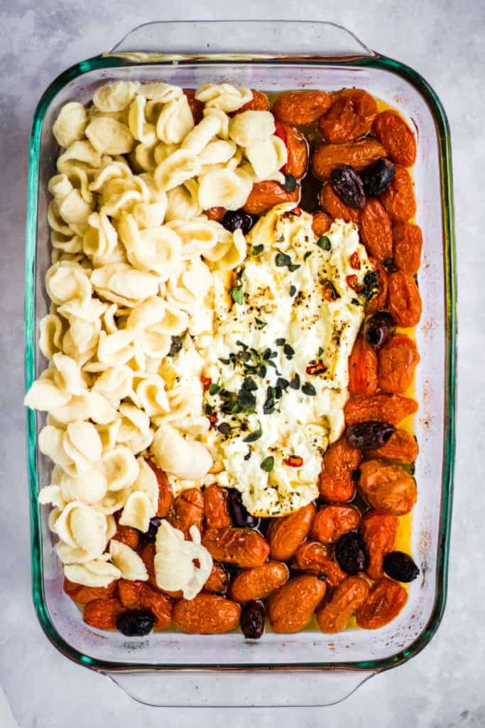 overhead shot of this baked feta pasta recipe after cooking