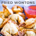 Pinterest pin for fried wontons.