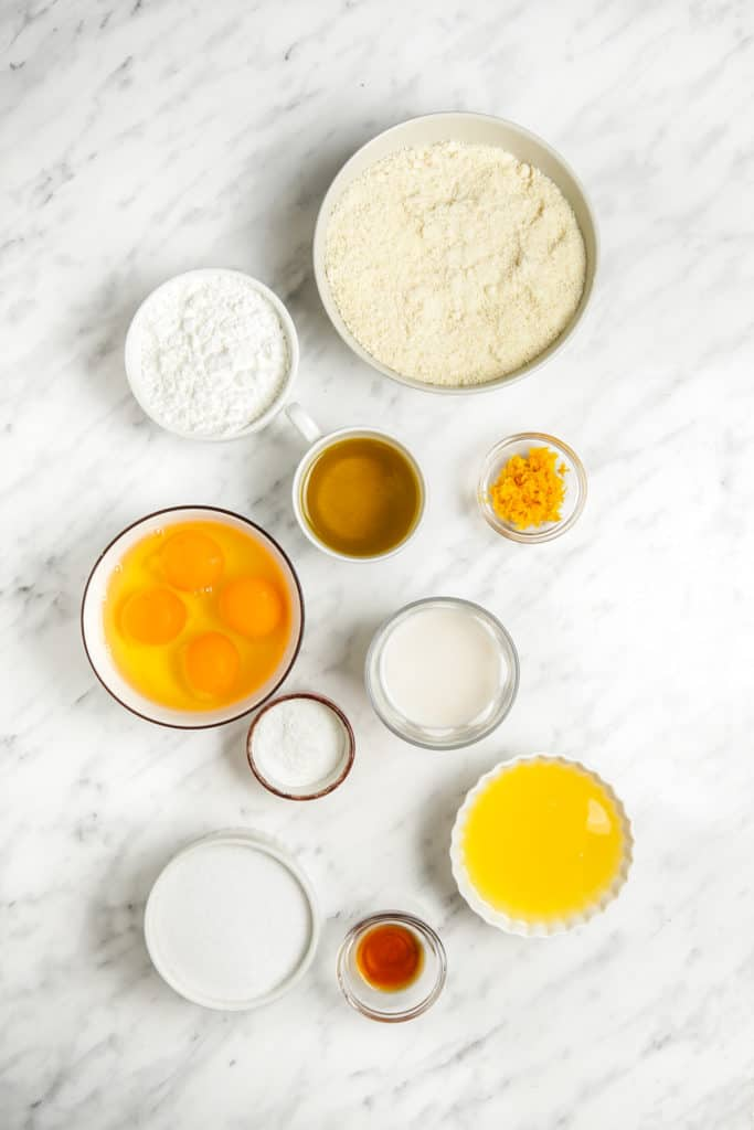 Overhead shot of the ingredients needed to make this passover sponge cake.