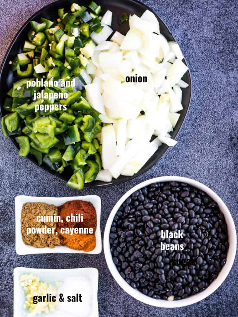 Overhead shot of ingredients for instant pot black beans.