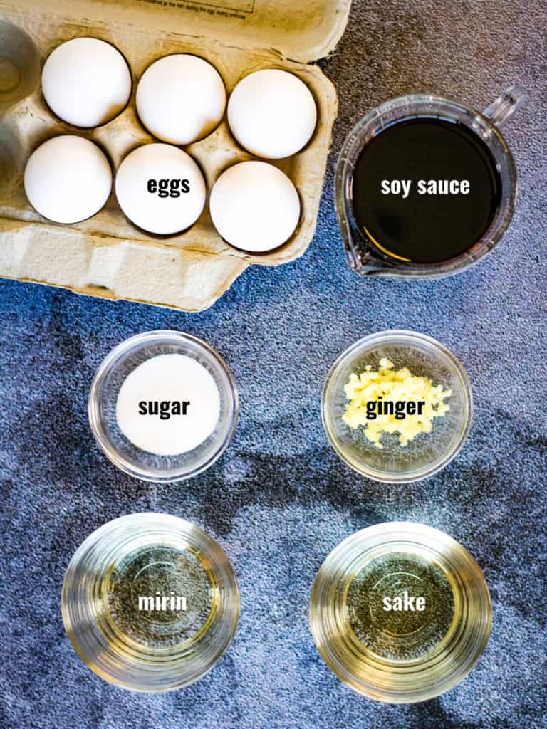 Ingredients for soy sauce eggs shot from overhead.