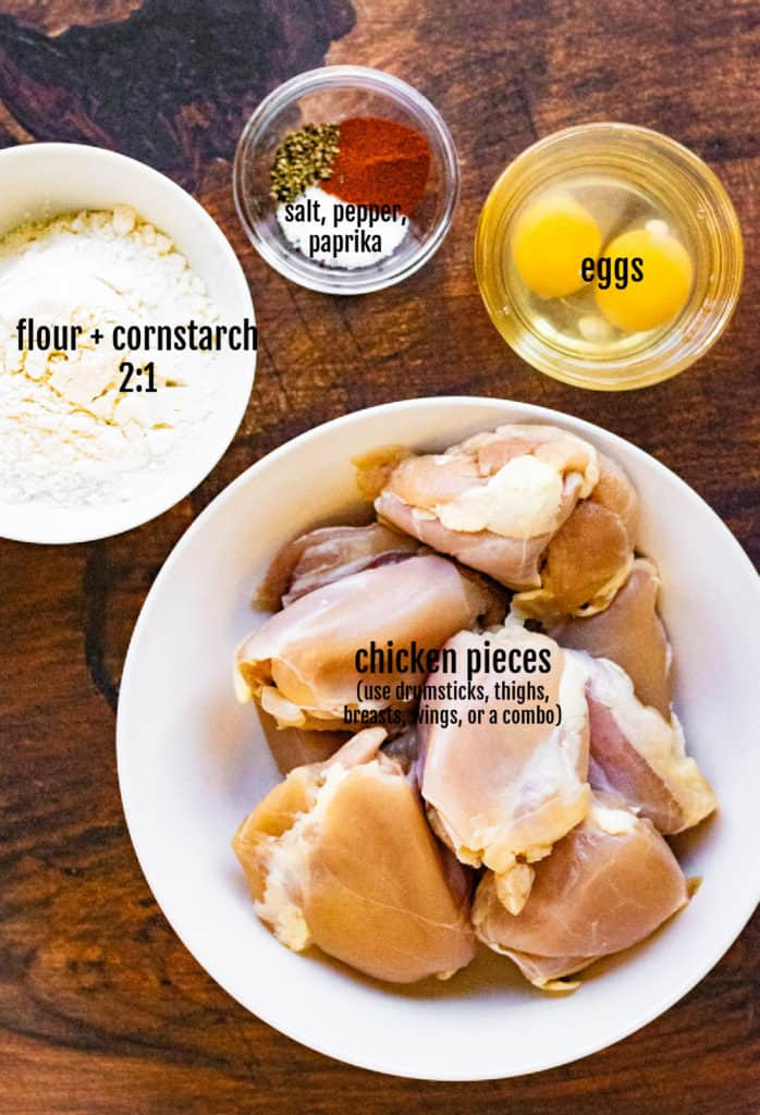 Overhead shot of the ingredients to make fried chicken in the air fryer.