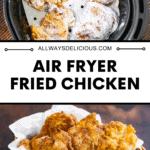 Pinterest pin for air fryer fried chicken.
