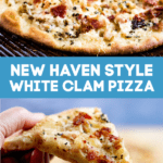 Pinterest pin for new haven white clam pizza.