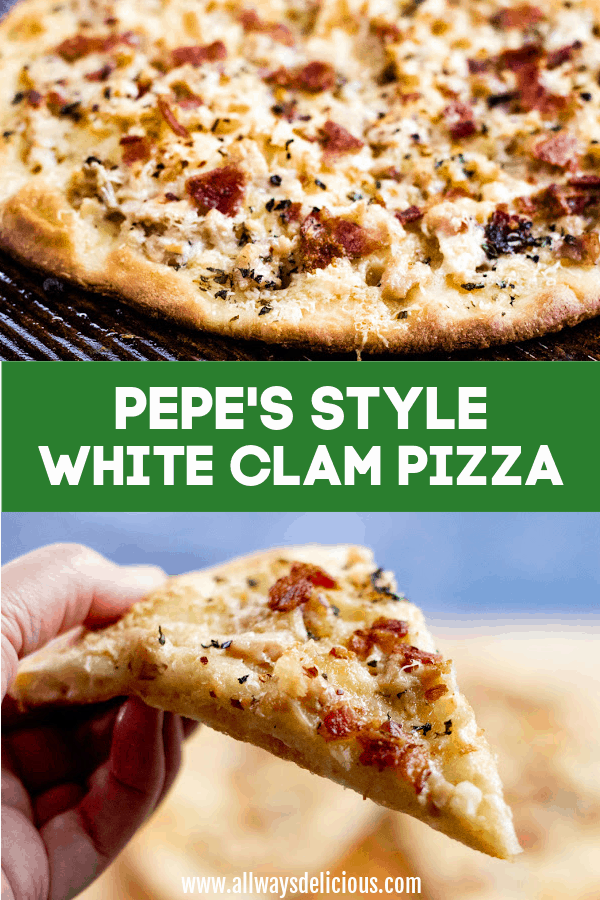 Pinterest pin for pepe's style white clam pizza.