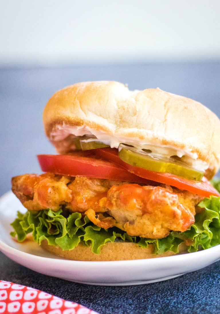 Low angle shot of an air fried spicy chicken sandwich