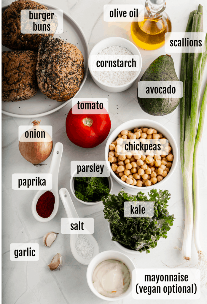 Overhead shot of the ingredients needed to make these chickpea burgers.