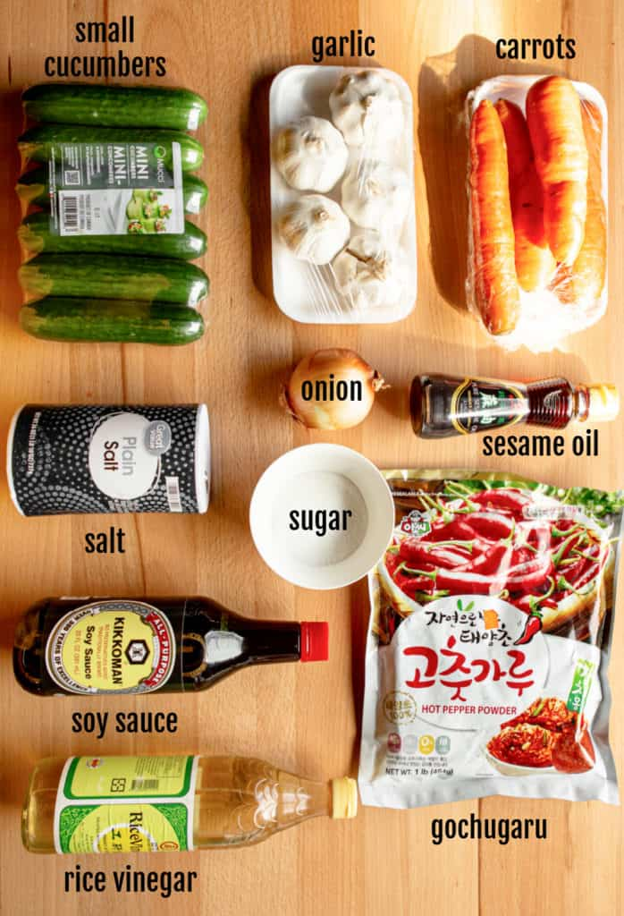 An overhead shot of the ingredients needed to make this cucumber kimchi recipe.