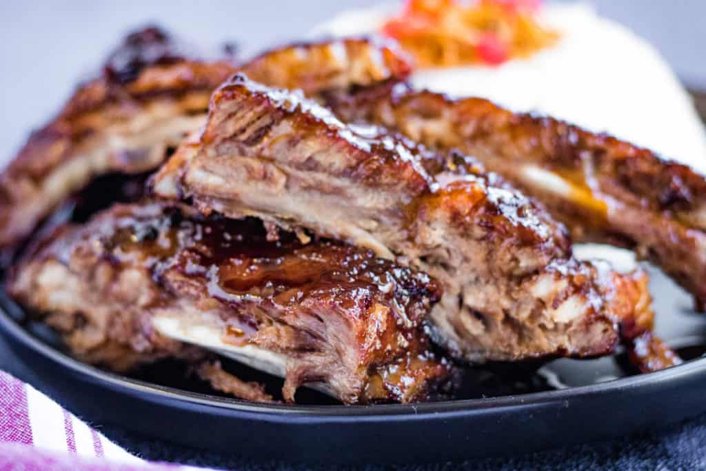 Low angle shot of hoisin glazed spare ribs cooked in the instant pot.