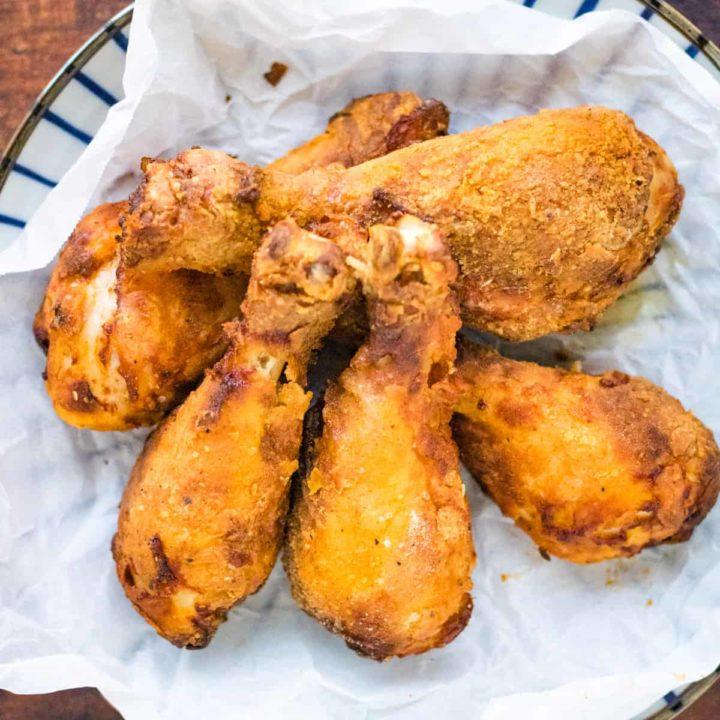 Overhead shot of air fryer fried buttermilk chicken.
