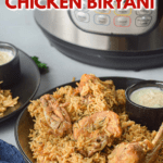 Pinterest pin for Instant Pot chicken biryani