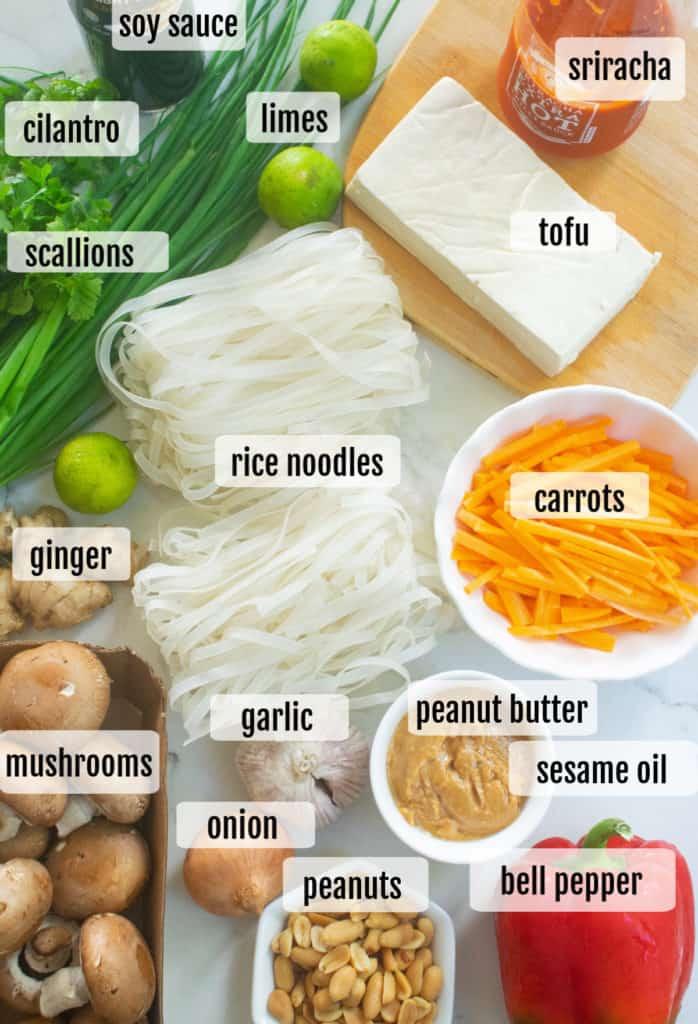 ingredients needed to make peanut sauce noodles