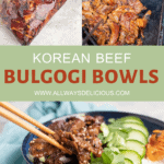 Pinterest pin for korean beef bulgogi bowls