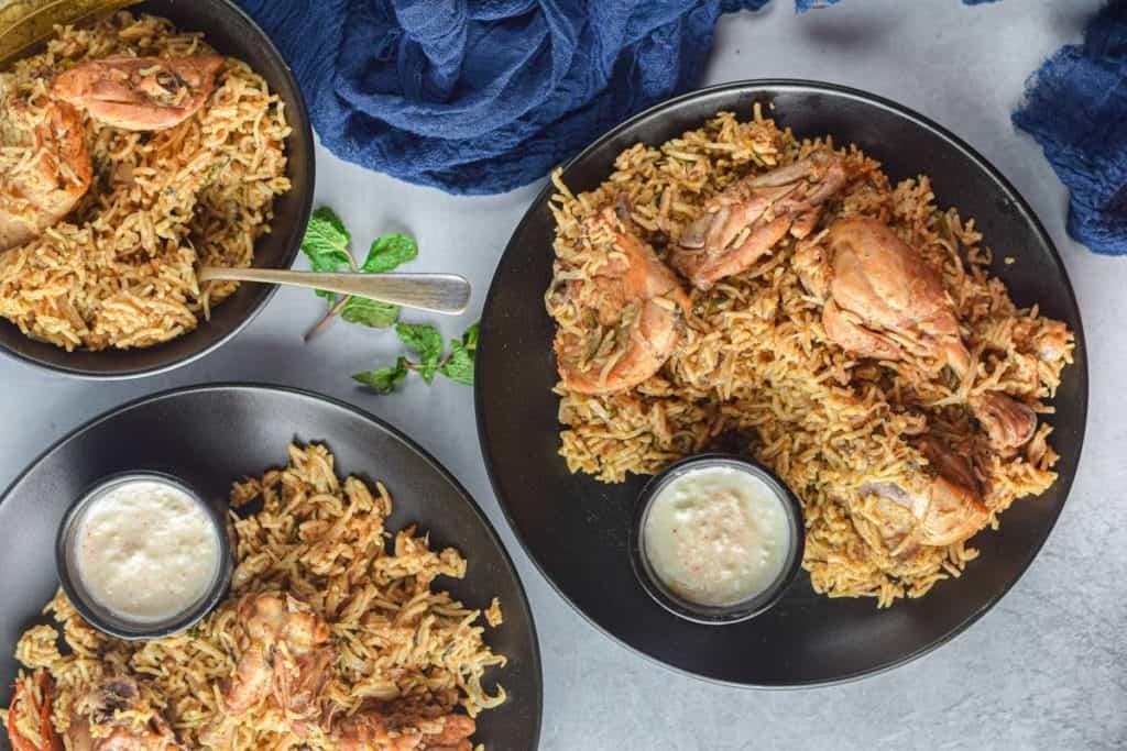 Overhead shot of Instant Pot biryani on plates.