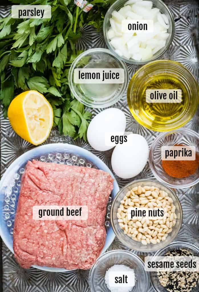 Overhead shot of the ingredients needed to make beef filled borekas