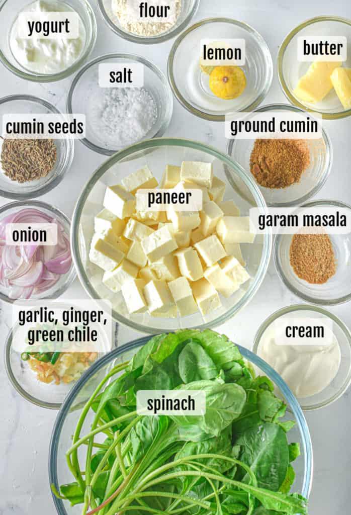 overhead shot of ingredients needed to make instant pot palak paneer