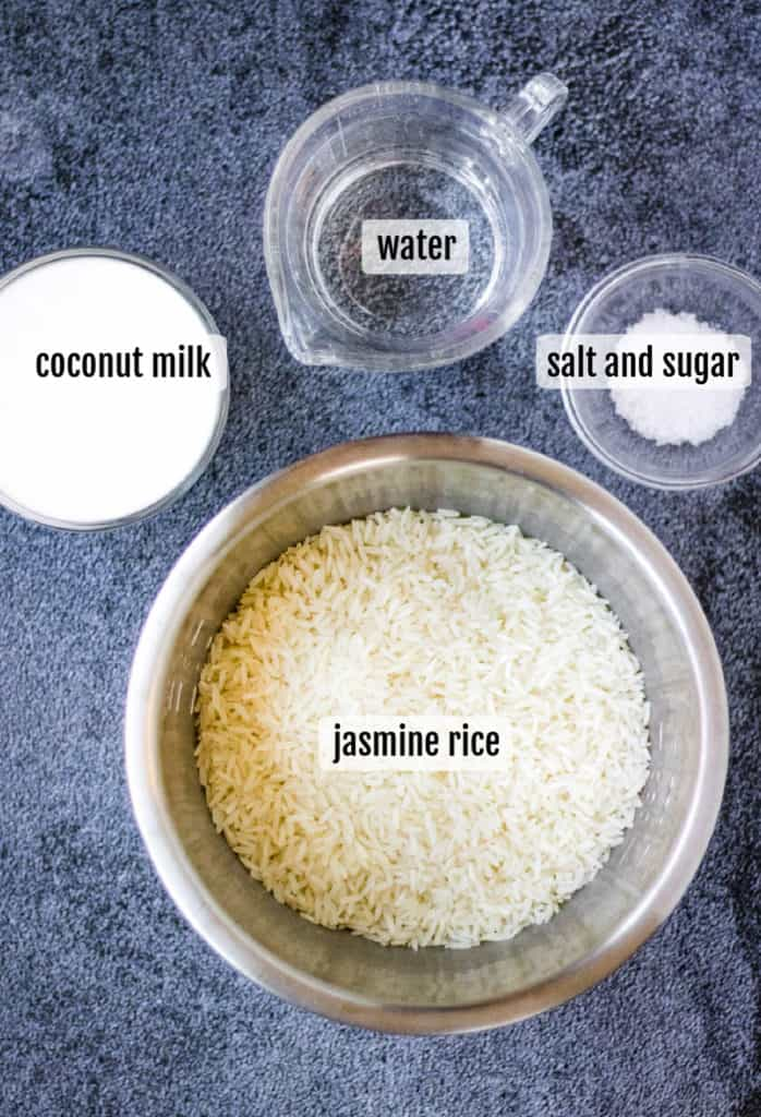 overhead shot of the ingredients needed to make instant pot coconut rice