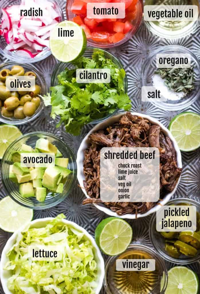Overhead shot of ingredients needed to make the dish