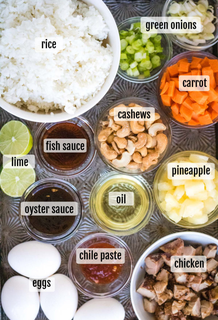 overhead shot of the ingredients needed to make thai fried rice or khao pad