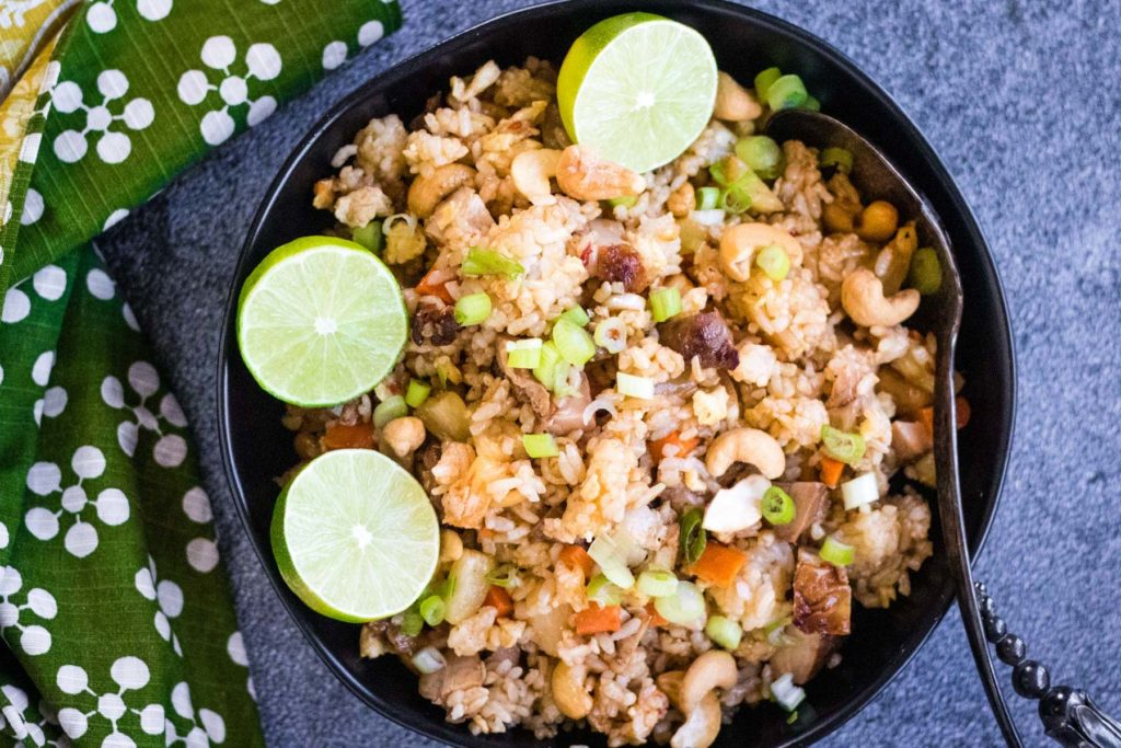overhead shot of a bow of thai fried rice