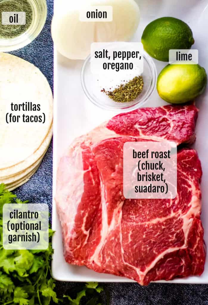 overhead shot of ingredients needed to make Mexican shredded beef