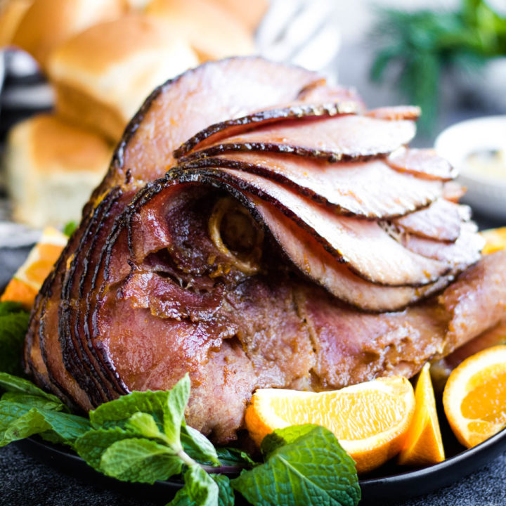 low angle shot of a spiral sliced ham