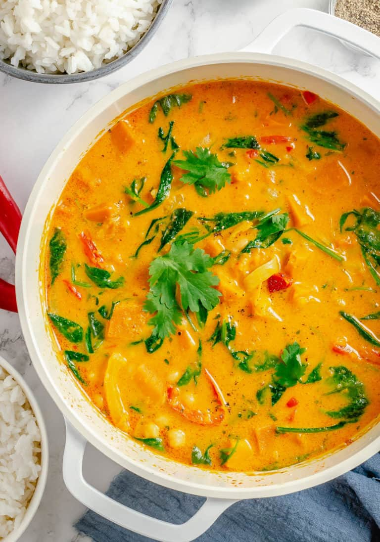 overhead shot of thai pumpkin curry in the cooking pot